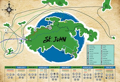 A map of Foundation House's travels to St. John/B.V.I.