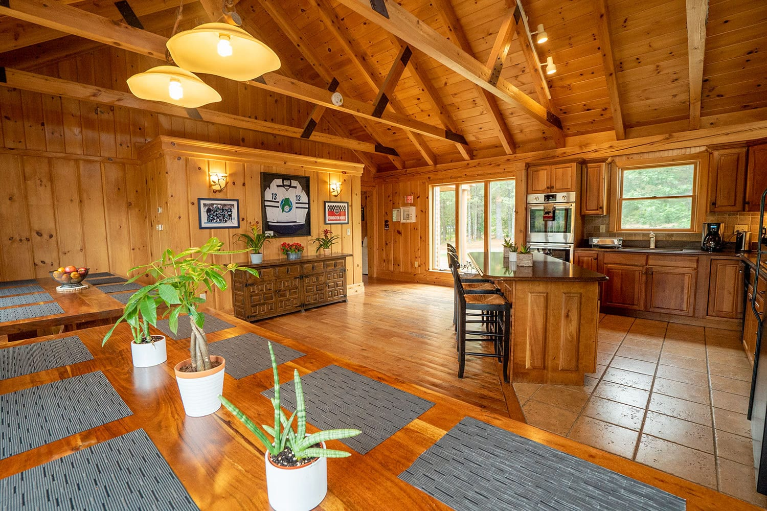 A photo of the kitchen and dining area at Foundation House's FoxHole Ranch.