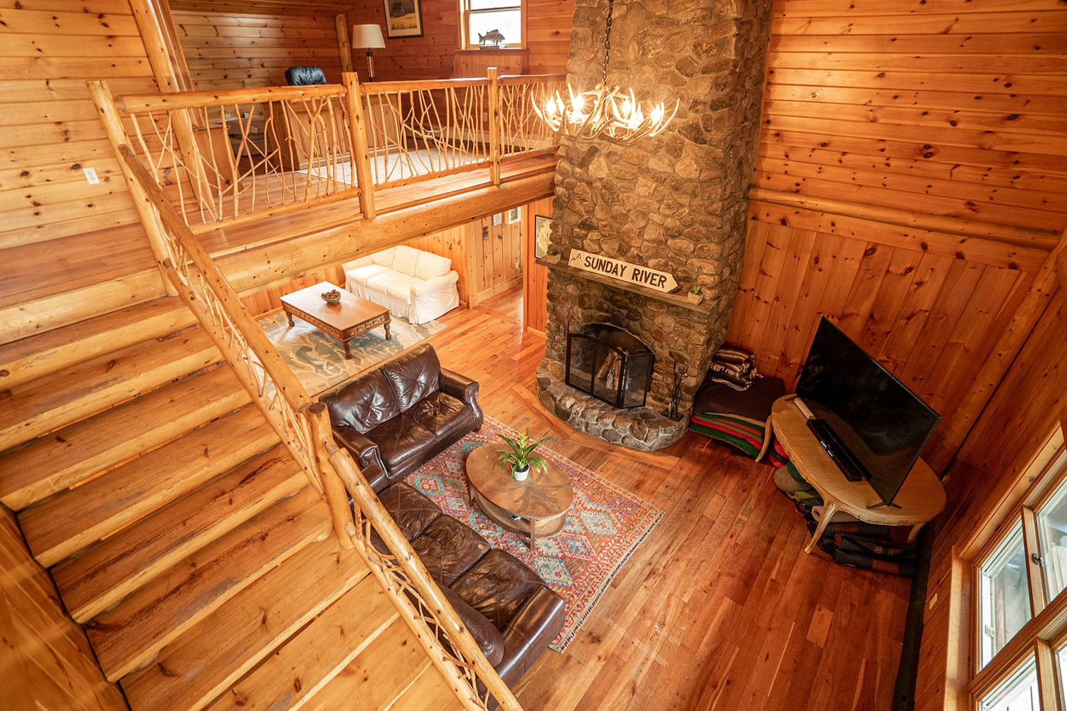 A photo of the living room area at Foundation House's FoxHole Ranch.