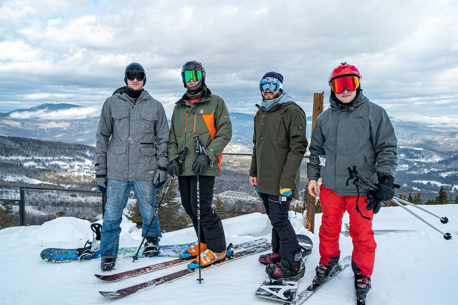 A photo of a group of young men skiing at FoxHole Ranch.